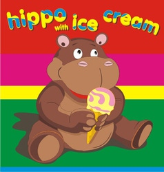 hippo wich ise cream vector image vector image