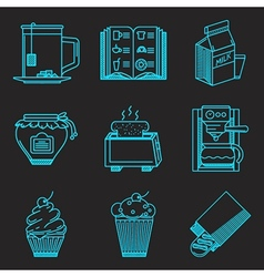 Menu for breakfast line icons vector image vector image