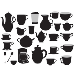 set of coffee pots and cups vector image vector image