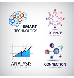 Set of science analysis chemistry atom vector