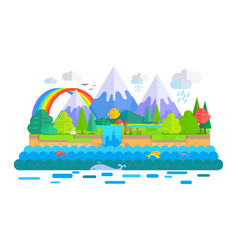 wild nature landscape concept in flat vector image