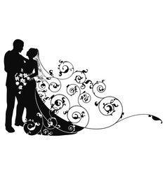 bride and groom background pattern silhouette vector image