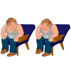 Happy cartoon man sitting in blue chair in gray vector image vector image