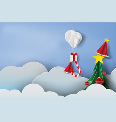 paper art of balloon white and gift box on in the vector image