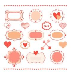 Set romantic frames and hearts vector