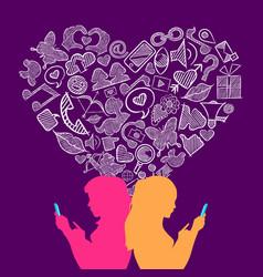 social media lesbian love internet icons concept vector image vector image