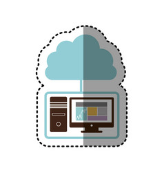 sticker tech computer with cloud storage server vector image