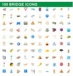100 bridge icons set cartoon style vector image