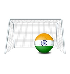 A soccer ball with the flag of India vector