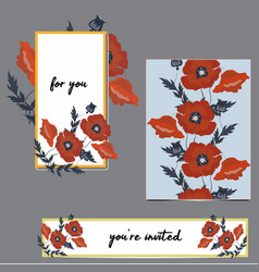 abstract flowers poppies isolated hand drawn vector image