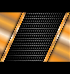 abstract gold plate on metal gray circle mesh vector image