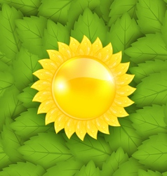 Abstract sun on green leaves seamless texture eco vector
