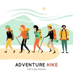 Adventure Hike Of Happy Friends vector