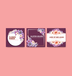 Advertise template with summer flower design vector