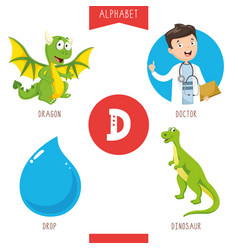 alphabet letter d and pictures vector image
