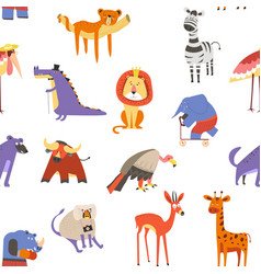 animals seamless pattern lion and zebra macaque vector image