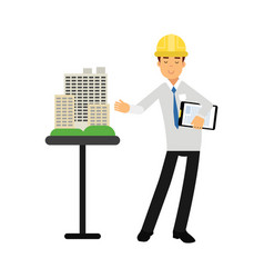 architect builder character in hard hat presenting vector image