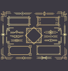 Art deco line border modern arabic gold frames vector