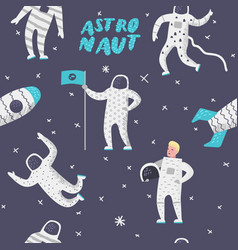 Astronaut with stars and rocket seamless pattern vector