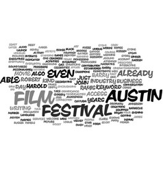 Austin film festival text background word cloud vector