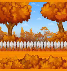 autumn landscape with wooden fence vector image