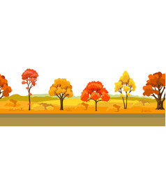 Autumn seamless pattern with landscape vector