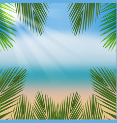 Beach with sea and palm leaves vector