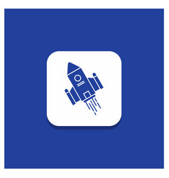 Blue round button for space craft shuttle space vector