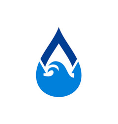 blue water nature waves logo icon vector image