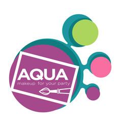 Brush and color samples aqua makeup or natural vector