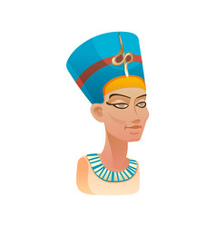 Bust nefertiti queen egypt in blue headdress vector