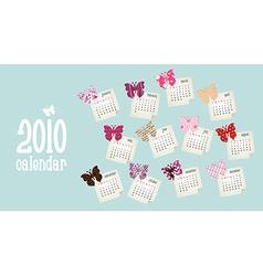 Calendar 2010 Butterfly design vector image