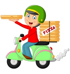 Cartoon pizza delivery boy riding motor bike vector