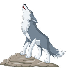 Cartoon wolf howling on rock vector