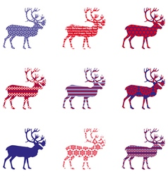 Christmas reindeer silhouette with ornament vector image
