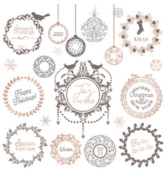christmas winter wreath vintage calligraphic vector image