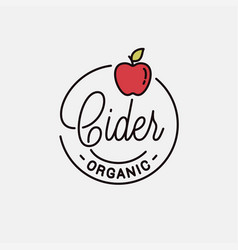 Cider logo round linear logo apple cider vector