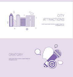 city attractions and oratory concept template web vector image