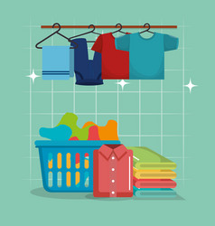 Clothes with laundry service icons vector