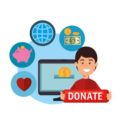 Computer with charity donation online vector