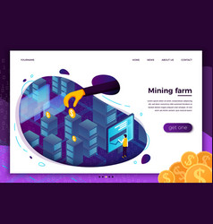 Concept cryptocurrency mining farm process vector
