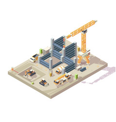 Construction isometric outdoor building high vector