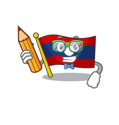 Cool smart student flag laos scroll character vector