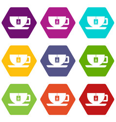 cup of tea with tea bag icon set color hexahedron vector image