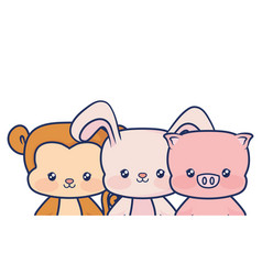 cute babys animals smiling vector image