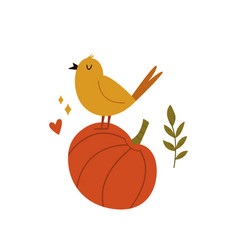 cute bird singing on a pumpkin autumn vibes vector image