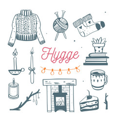 Danish lifestyle concept- hygge hand drawn vector