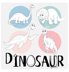 dinosaurs in four different types vector image