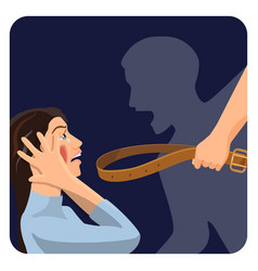 Domestic physical violence over scared woman vector
