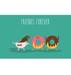 Donat and coffee vector